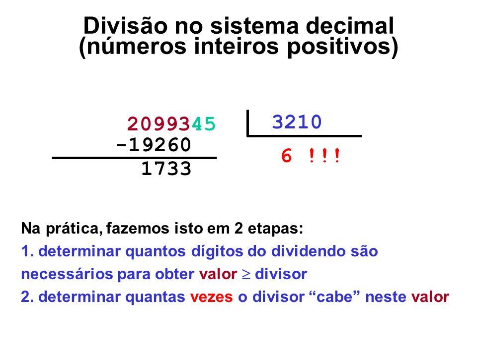 1733000 2099345 3210 6 !!! -19260000 Divisão no sistema decimal (números inteiros positivos) Na prática, fazemos isto em 2 etapas: 1. determinar quant