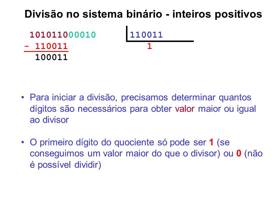101011000010 110011 - 110011 1 100011 Divisão no sistema binário - inteiros positivos Para iniciar a divisão, precisamos determinar quantos dígitos sã