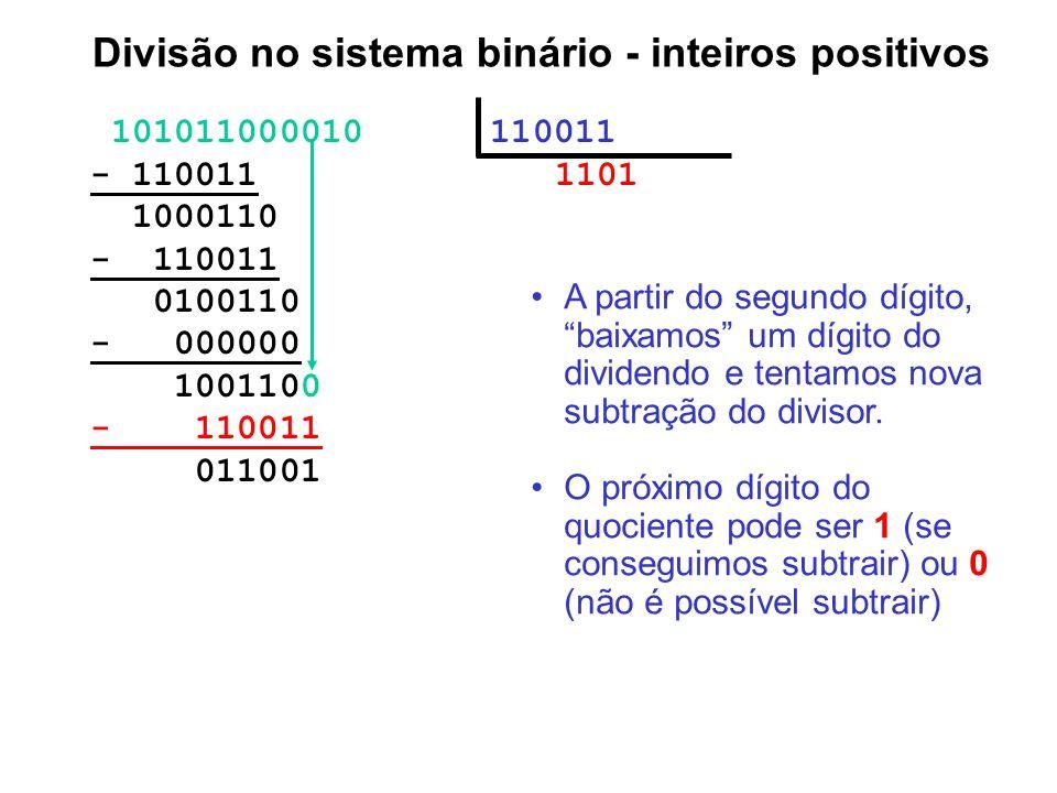 101011000010 110011 - 110011 1101 1000110 - 110011 0100110 - 000000 1001100 - 110011 011001 Divisão no sistema binário - inteiros positivos A partir d