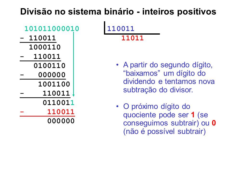 101011000010 110011 - 110011 11011 1000110 - 110011 0100110 - 000000 1001100 - 110011 0110011 - 110011 000000 Divisão no sistema binário - inteiros po
