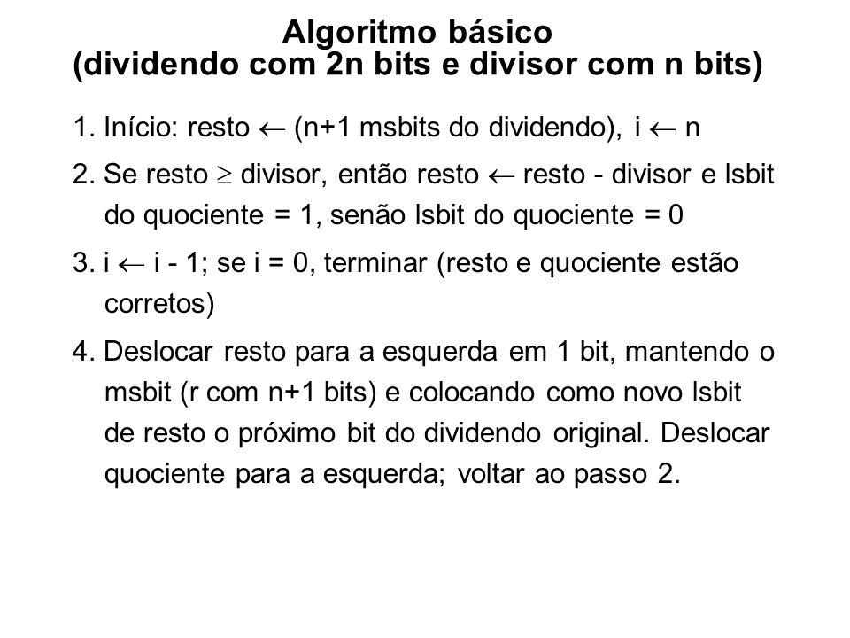 Algoritmo básico (dividendo com 2n bits e divisor com n bits) 1. Início: resto (n+1 msbits do dividendo), i n 2. Se resto divisor, então resto resto -