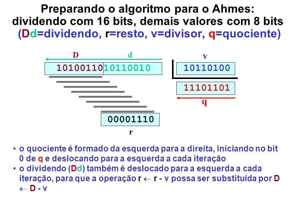 Preparando o algoritmo para o Ahmes: dividendo com 16 bits, demais valores com 8 bits (Dd=dividendo, r=resto, v=divisor, q=quociente) 1010011010110010
