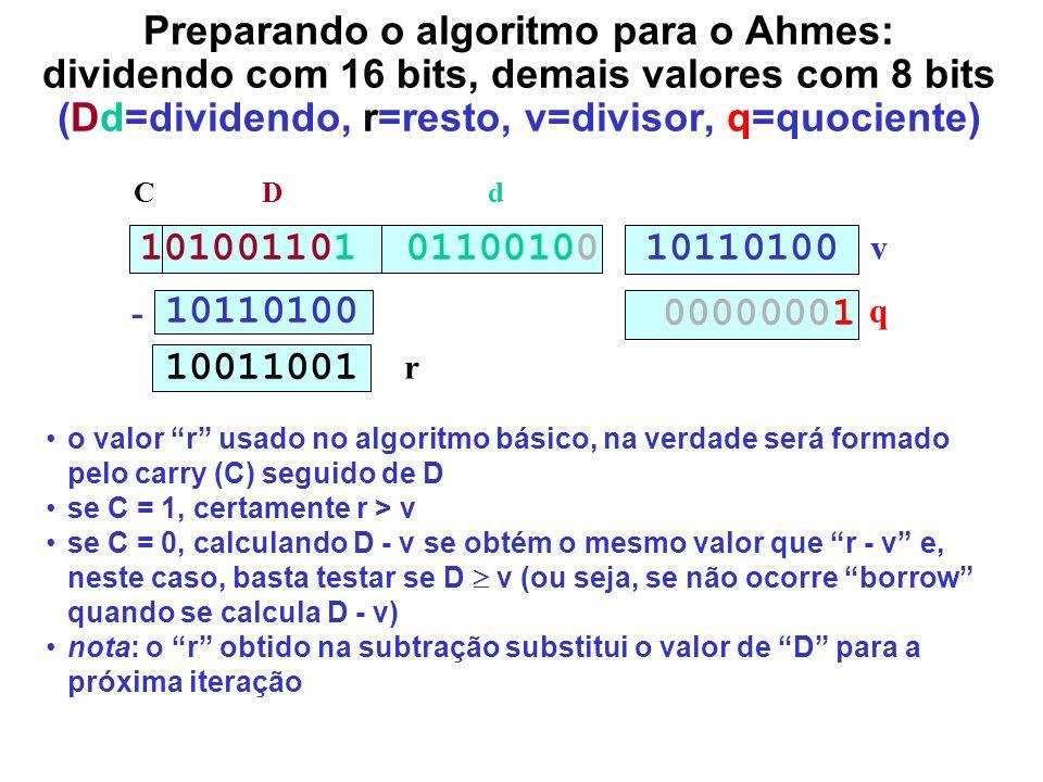 Preparando o algoritmo para o Ahmes: dividendo com 16 bits, demais valores com 8 bits (Dd=dividendo, r=resto, v=divisor, q=quociente) 101001101 011001