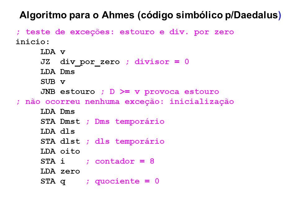 Algoritmo para o Ahmes (código simbólico p/Daedalus) ; teste de exceções: estouro e div. por zero inicio: LDA v JZ div_por_zero ; divisor = 0 LDA Dms