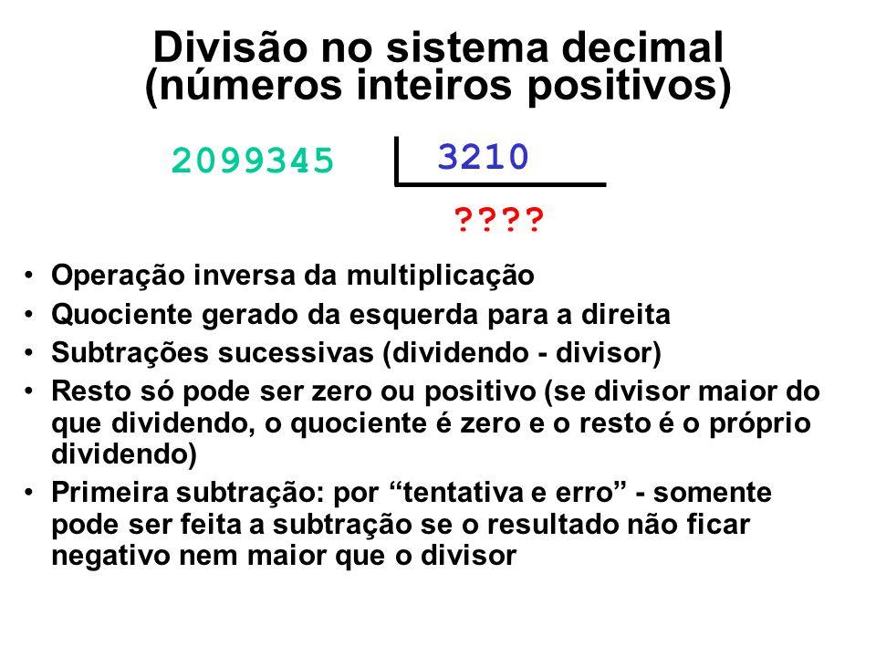 Divisão no sistema decimal (números inteiros positivos) 2099345 3210 ????0 Operação inversa da multiplicação Quociente gerado da esquerda para a direi