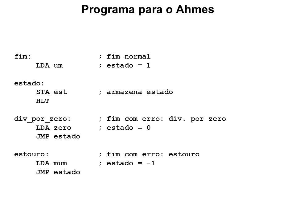 Programa para o Ahmes fim: ; fim normal LDA um ; estado = 1 estado: STA est ; armazena estado HLT div_por_zero: ; fim com erro: div. por zero LDA zero