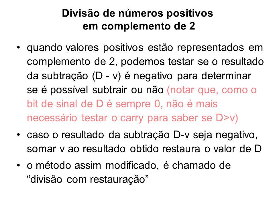 Divisão de números positivos em complemento de 2 quando valores positivos estão representados em complemento de 2, podemos testar se o resultado da su