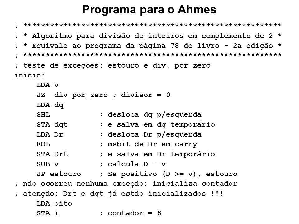 Programa para o Ahmes ; ********************************************************** ; * Algoritmo para divisão de inteiros em complemento de 2 * ; * Eq
