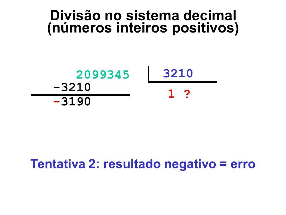 -3190000 2099345 3210 1 ?00 -3210000 Divisão no sistema decimal (números inteiros positivos) Tentativa 2: resultado negativo = erro