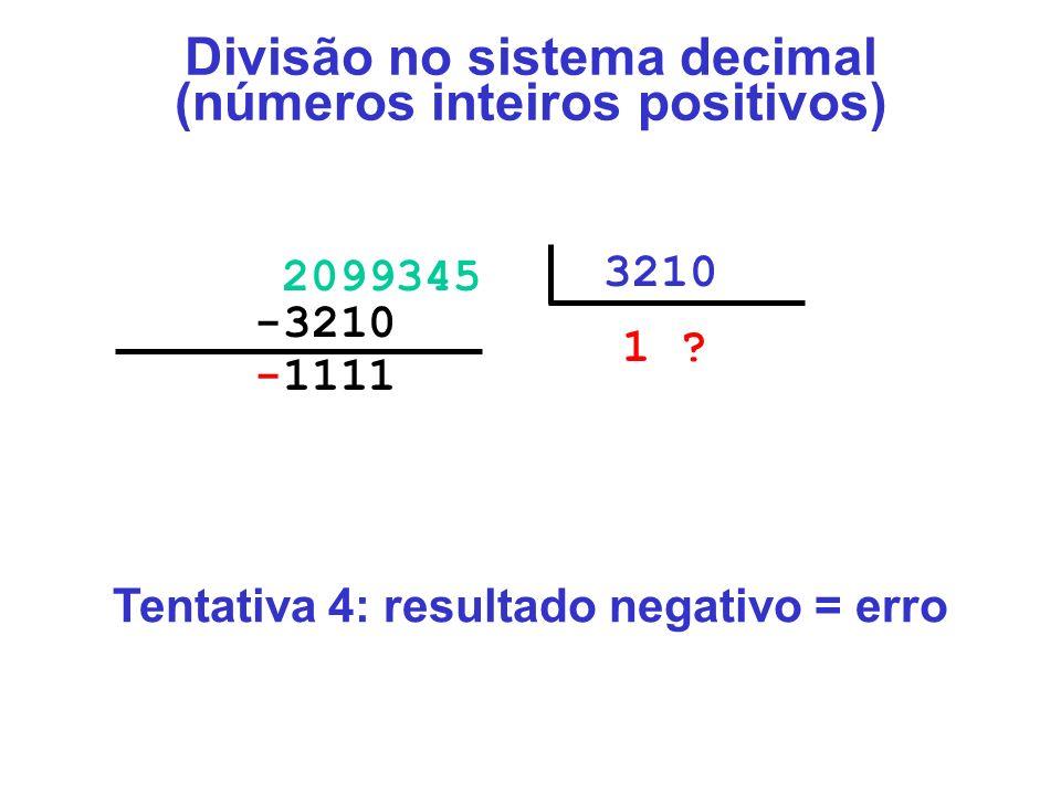 -1111000 2099345 3210 1 ?00 -3210000 Divisão no sistema decimal (números inteiros positivos) Tentativa 4: resultado negativo = erro