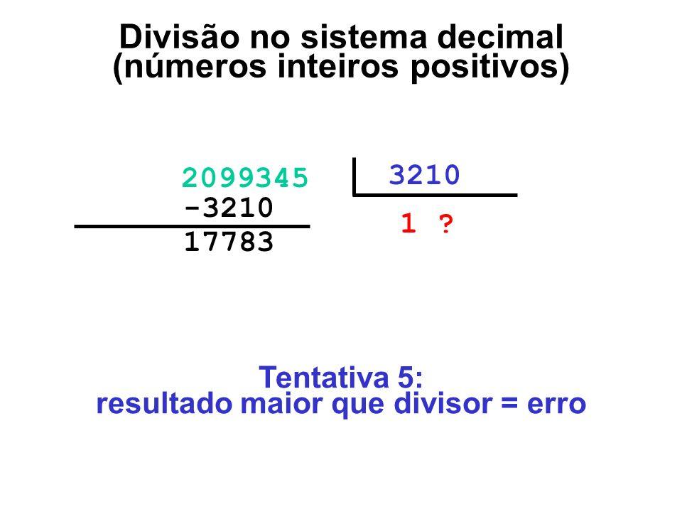 17783000 2099345 3210 1 ?00 -3210000 Divisão no sistema decimal (números inteiros positivos) Tentativa 5: resultado maior que divisor = erro