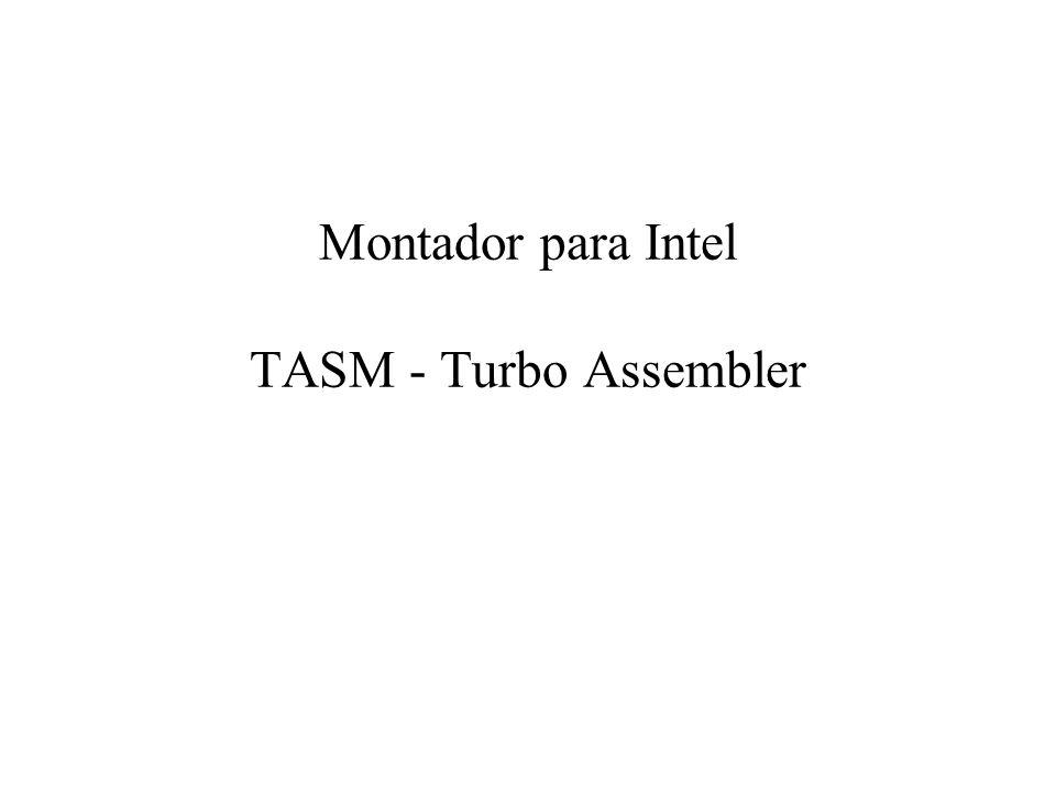 Passos Principais Escrever o programa fonte (xx.ASM) –Usar o seu editor de texto preferido Utilizar o montador (TASM) –Geração de código objeto (xx.OBJ) Utilizar o carregador (TLINK) –Geração de código executável (xx.EXE) Utilizar o depurador (CodeView, Debug, TD)