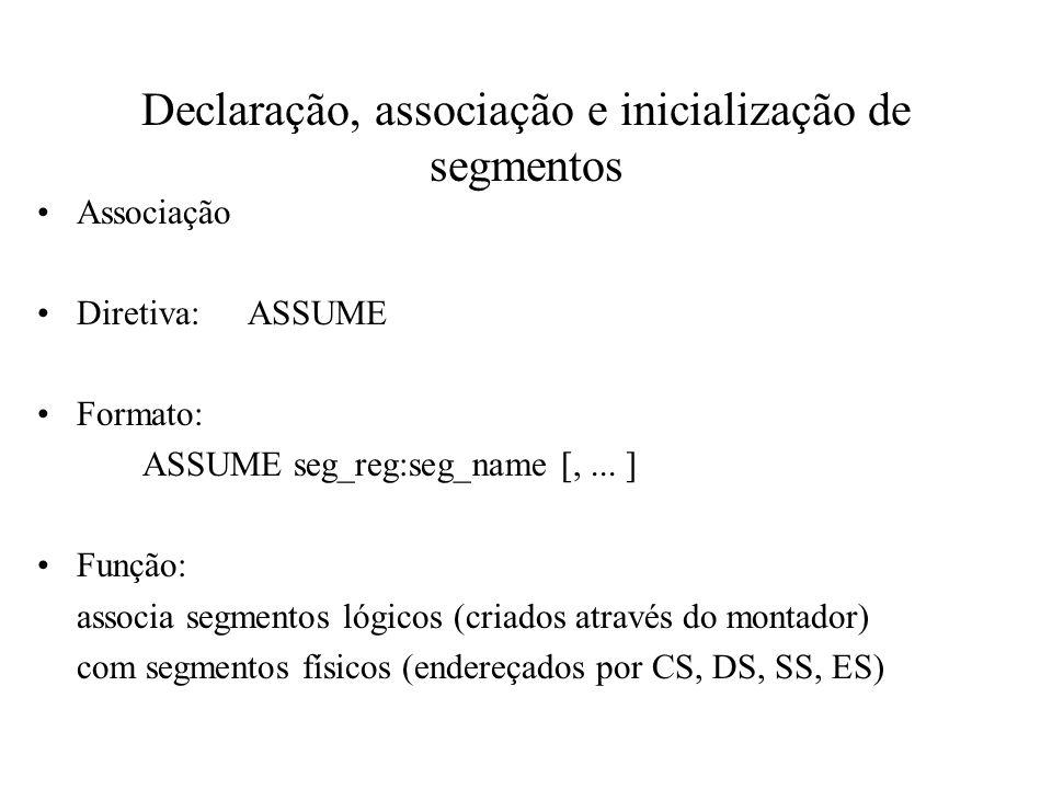Declaração, associação e inicialização de segmentos Associação Diretiva:ASSUME Formato: ASSUME seg_reg:seg_name [,... ] Função: associa segmentos lógi