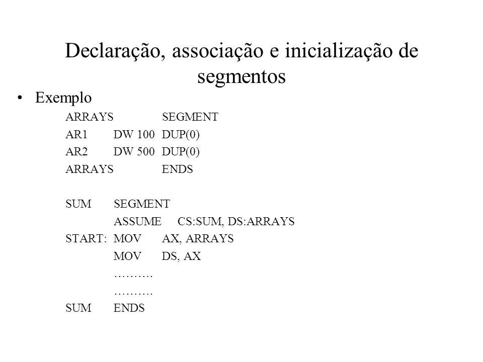 Declaração, associação e inicialização de segmentos Exemplo ARRAYSSEGMENT AR1DW 100DUP(0) AR2DW 500DUP(0) ARRAYSENDS SUMSEGMENT ASSUME CS:SUM, DS:ARRA