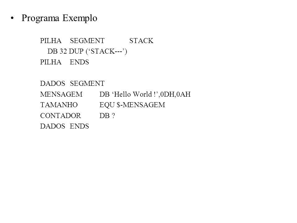 Programa Exemplo PILHASEGMENTSTACK DB 32 DUP (STACK---) PILHAENDS DADOSSEGMENT MENSAGEMDB Hello World !,0DH,0AH TAMANHOEQU $-MENSAGEM CONTADORDB ? DAD