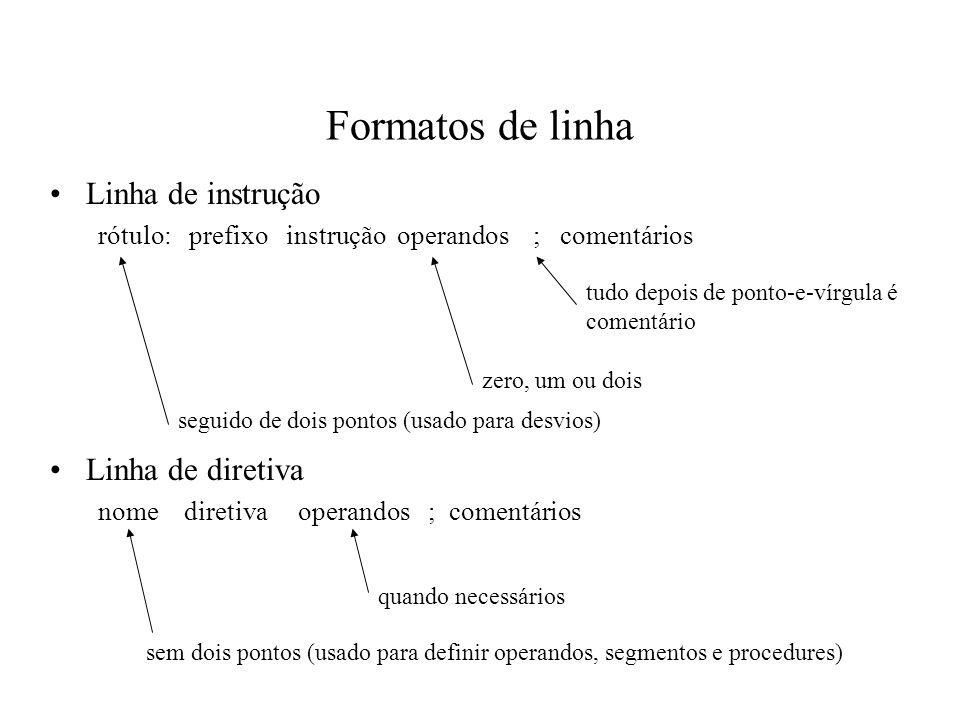Formatos de linha Linha de instrução rótulo: prefixo instrução operandos ; comentários Linha de diretiva nome diretiva operandos ; comentários seguido