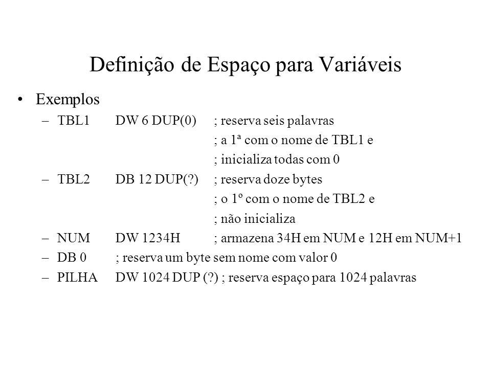 Definição de Espaço para Variáveis Exemplos –DIGITDB 0123456789 ; dez bytes alocados –SINGLE$QUOTEDB ; um byte alocado –PRIMESDW 2,3,5,7,11,13,17; sete palavras alocadas –MSGDB Meu primeiro programa Assembler ,0DH,0AH Strings podem ter até 255 caracteres Listas podem ter até 16 elementos