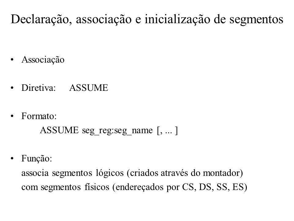 Associação Diretiva:ASSUME Formato: ASSUME seg_reg:seg_name [,... ] Função: associa segmentos lógicos (criados através do montador) com segmentos físi