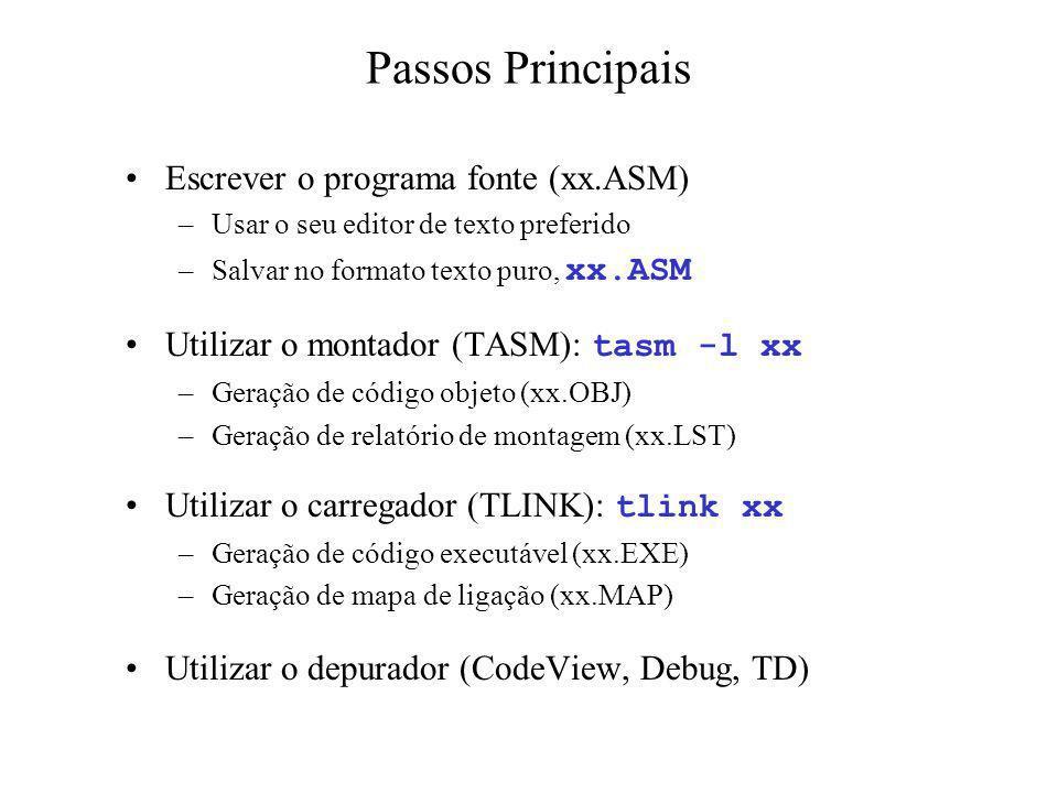 Passos Principais Escrever o programa fonte (xx.ASM) –Usar o seu editor de texto preferido –Salvar no formato texto puro, xx.ASM Utilizar o montador (