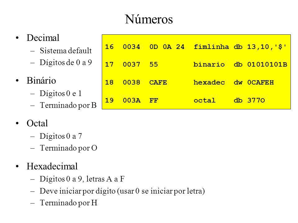 Definição de Constantes Diretiva EQU –Associa um nome a um número –Não utiliza espaço de memória Exemplos –MAXIMOEQU32 –MENOS_UMEQU0FFH –ZEROEQU0 –SETEEQU0111B 3 =000D CR EQU 0DH ; constante - codigo ASCII caractere carriage return 4 =000A LF EQU 0AH ; constante - codigo ASCII caractere line feed