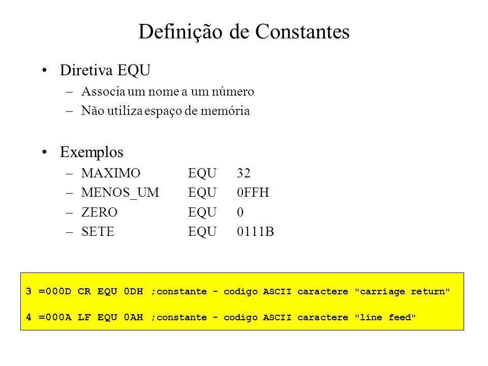 Exemplo STK1SEGMENT DW1000 DUP(0); define 1000 palavras (2000 bytes) STK1ENDS STK_INITSEGMENT ASSUMECS:STK_INIT, SS:STK1 MOVAX,STK1 MOVSS,AX MOVSP,2000; primeiro PUSH coloca SP em 1998 …… STK_INITENDS Declaração, associação e inicialização de segmentos