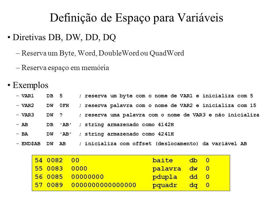 Definição de Espaço para Variáveis Mais exemplos TBL1 DW 6 DUP(0) ; reserva seis palavras ; a 1ª com o nome de TBL1 e ; inicializa todas com 0 TBL2 DB 12 DUP(?) ; reserva doze bytes ; o 1º com o nome de TBL2 e ; não inicializa NUM DW 1234H ; armazena 34H em NUM e 12H em NUM+1 DB 0 ; reserva um byte sem nome com valor 0 PILHA DW 1024 DUP (?) ; reserva espaço para 1024 palavras