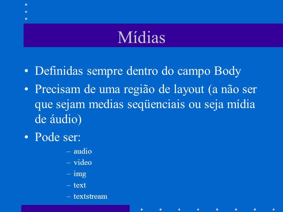 Mídias Definidas sempre dentro do campo Body Precisam de uma região de layout (a não ser que sejam medias seqüenciais ou seja mídia de áudio) Pode ser: –audio –video –img –text –textstream