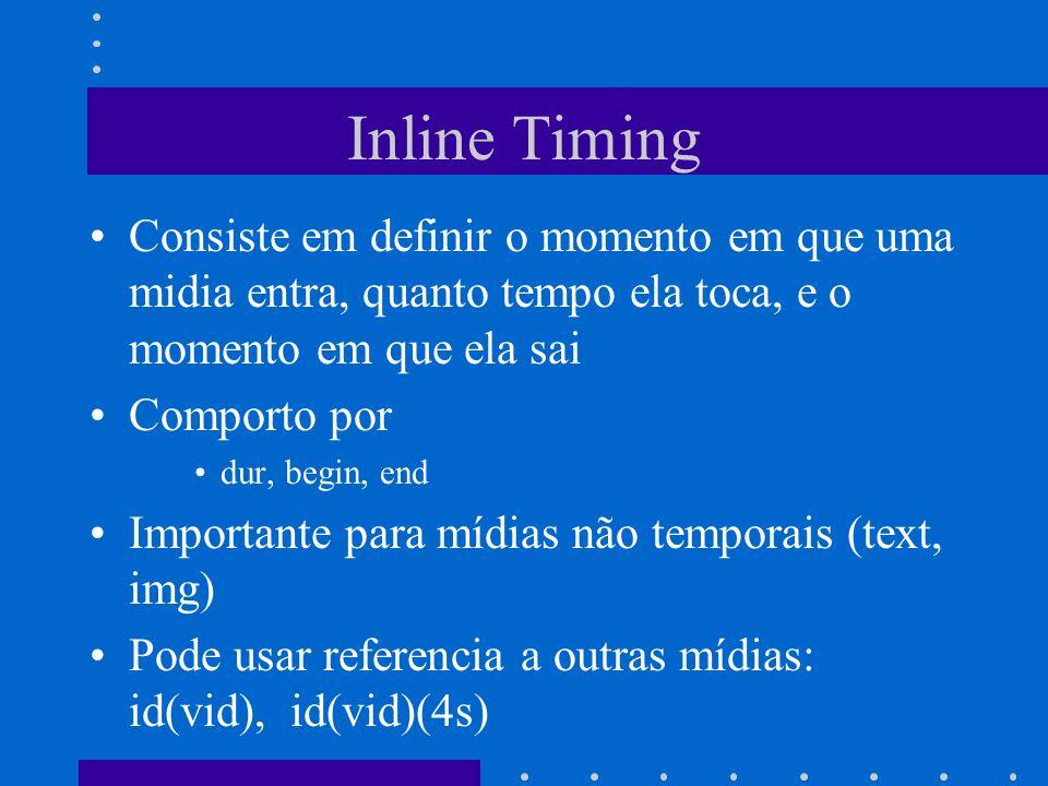 Inline Timing Consiste em definir o momento em que uma midia entra, quanto tempo ela toca, e o momento em que ela sai Comporto por dur, begin, end Importante para mídias não temporais (text, img) Pode usar referencia a outras mídias: id(vid), id(vid)(4s)