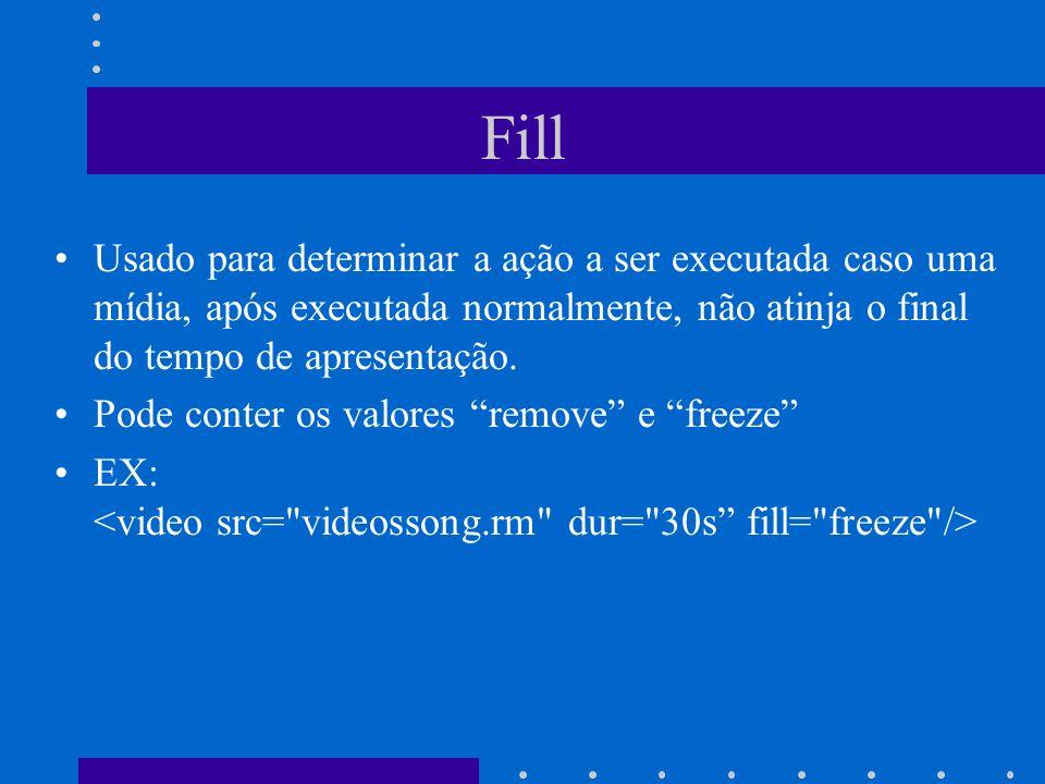 Fill Usado para determinar a ação a ser executada caso uma mídia, após executada normalmente, não atinja o final do tempo de apresentação.