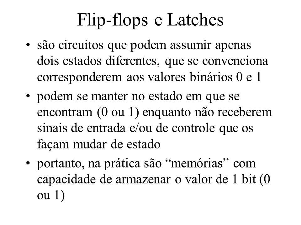Flip-flops e Latches são circuitos que podem assumir apenas dois estados diferentes, que se convenciona corresponderem aos valores binários 0 e 1 pode