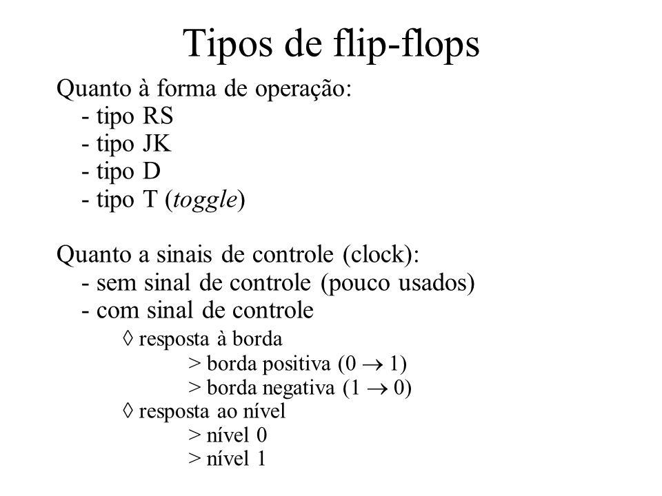 Tipos de flip-flops Quanto à forma de operação: - tipo RS - tipo JK - tipo D - tipo T (toggle) Quanto a sinais de controle (clock): - sem sinal de con
