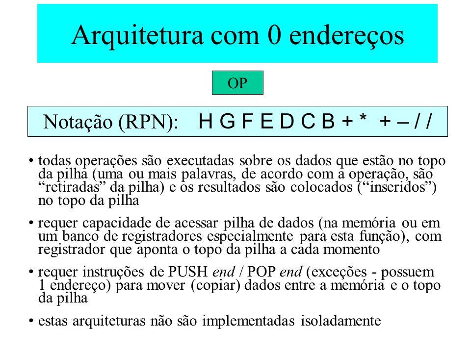 Arquitetura com 0 endereços OP todas operações são executadas sobre os dados que estão no topo da pilha (uma ou mais palavras, de acordo com a operaçã