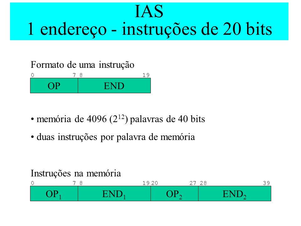 IAS 1 endereço - instruções de 20 bits Formato de uma instrução memória de 4096 (2 12 ) palavras de 40 bits duas instruções por palavra de memória Ins