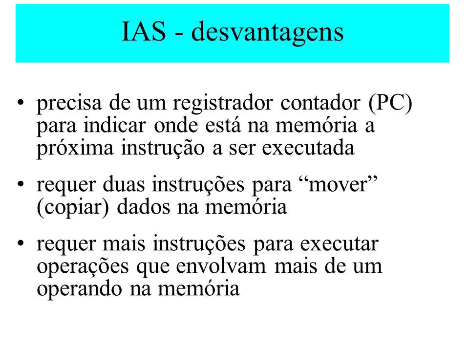 IAS - desvantagens precisa de um registrador contador (PC) para indicar onde está na memória a próxima instrução a ser executada requer duas instruçõe
