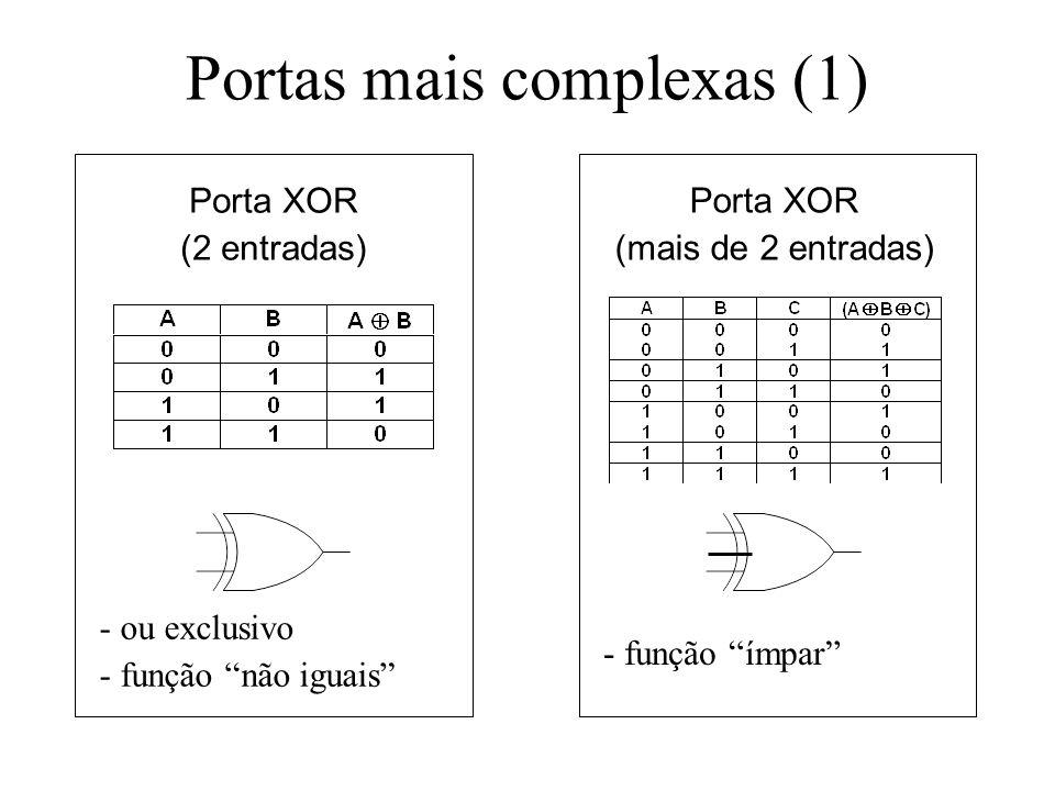 Portas mais complexas (1) Porta XOR (2 entradas) Porta XOR (mais de 2 entradas) - ou exclusivo - função não iguais - função ímpar
