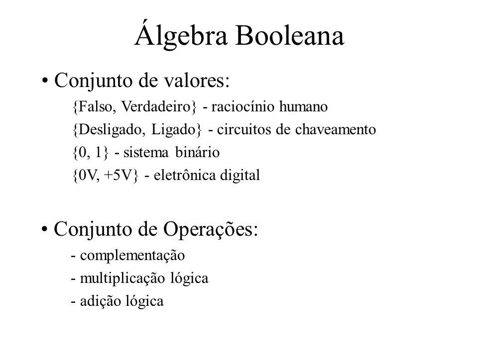 Álgebra Booleana Conjunto de Operações: - complementação - multiplicação lógica - adição lógica Conjunto de valores: {Falso, Verdadeiro} - raciocínio