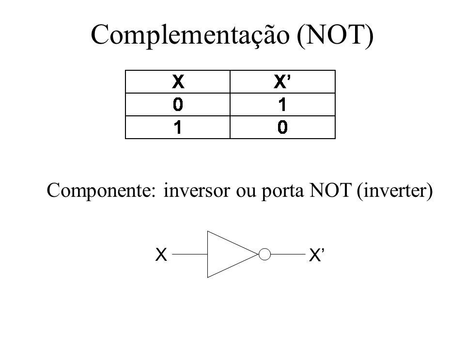 Complementação (NOT) Componente: inversor ou porta NOT (inverter) X X
