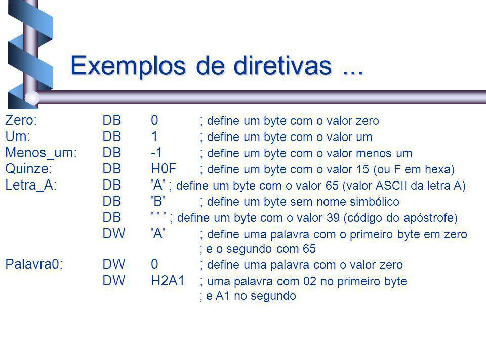 18 Zero:DB0; define um byte com o valor zero Um:DB1; define um byte com o valor um Menos_um:DB-1 ; define um byte com o valor menos um Quinze:DBH0F; d