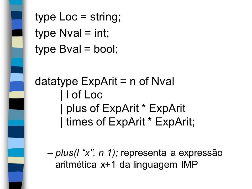 type Loc = string; type Nval = int; type Bval = bool; datatype ExpArit = n of Nval | l of Loc | plus of ExpArit * ExpArit | times of ExpArit * ExpArit; –plus(l x, n 1); representa a expressão aritmética x+1 da linguagem IMP