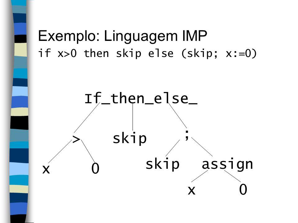 Exemplo: Linguagem IMP if x>0 then skip else (skip; x:=0) skip> ; x0 assign x0 If_then_else_