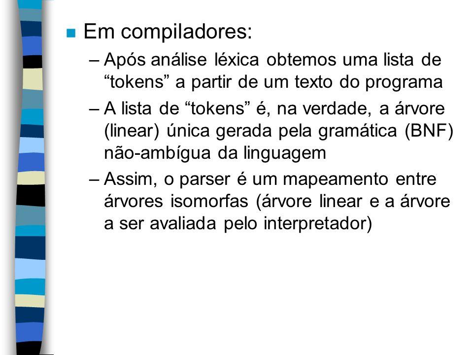 n Em compiladores: –Após análise léxica obtemos uma lista de tokens a partir de um texto do programa –A lista de tokens é, na verdade, a árvore (linea