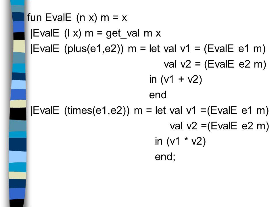 fun EvalE (n x) m = x |EvalE (l x) m = get_val m x |EvalE (plus(e1,e2)) m = let val v1 = (EvalE e1 m) val v2 = (EvalE e2 m) in (v1 + v2) end |EvalE (times(e1,e2)) m = let val v1 =(EvalE e1 m) val v2 =(EvalE e2 m) in (v1 * v2) end;