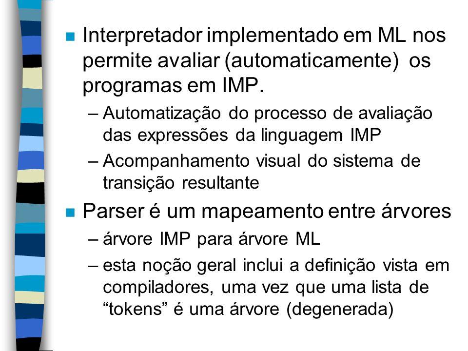 n Interpretador implementado em ML nos permite avaliar (automaticamente) os programas em IMP. –Automatização do processo de avaliação das expressões d