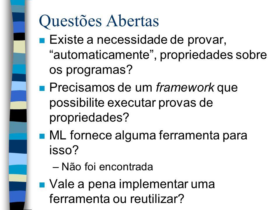 Questões Abertas n Existe a necessidade de provar, automaticamente, propriedades sobre os programas? n Precisamos de um framework que possibilite exec