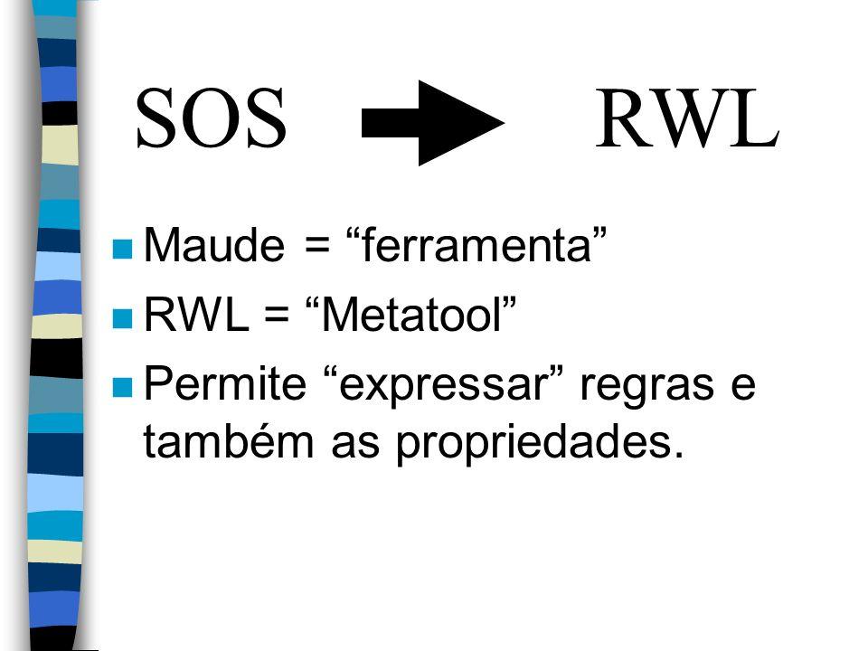 SOSRWL n Maude = ferramenta n RWL = Metatool n Permite expressar regras e também as propriedades.