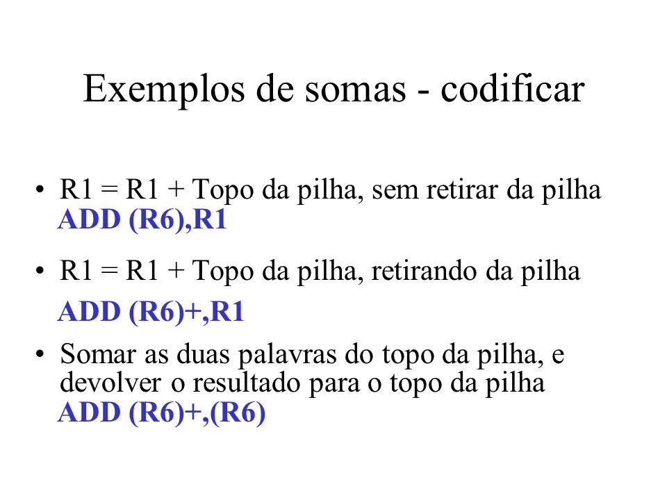 Exemplos de somas - codificar R1 = R1 + Topo da pilha, sem retirar da pilha R1 = R1 + Topo da pilha, retirando da pilha Somar as duas palavras do topo
