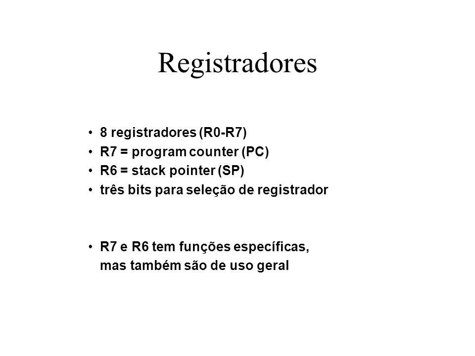 Registradores 8 registradores (R0-R7) R7 = program counter (PC) R6 = stack pointer (SP) três bits para seleção de registrador R7 e R6 tem funções espe
