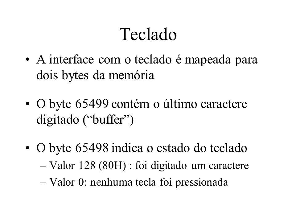 Teclado A interface com o teclado é mapeada para dois bytes da memória O byte 65499 contém o último caractere digitado (buffer) O byte 65498 indica o