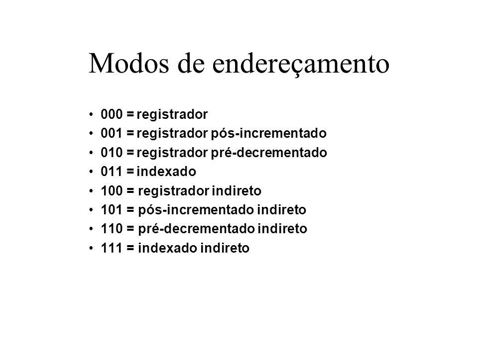Modos de endereçamento 000 =registrador 001 =registrador pós-incrementado 010 =registrador pré-decrementado 011 =indexado 100 = registrador indireto 1