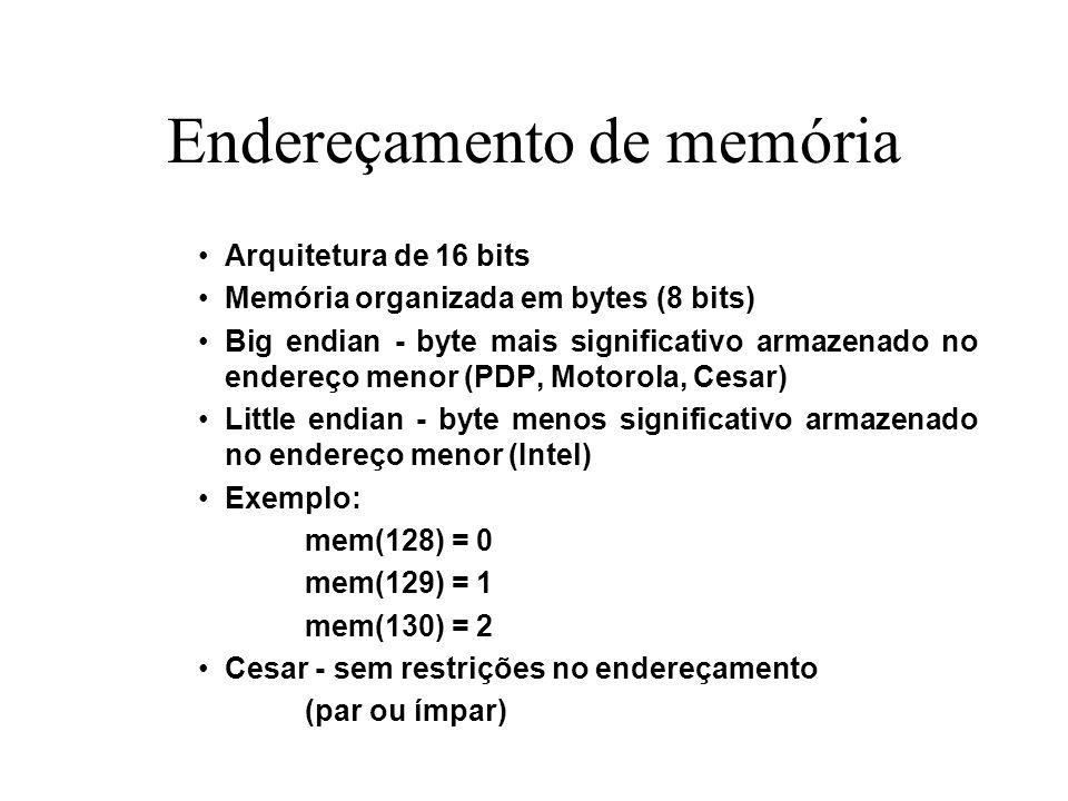 Endereçamento de memória Arquitetura de 16 bits Memória organizada em bytes (8 bits) Big endian - byte mais significativo armazenado no endereço menor